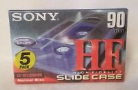 Pack Of 5 Sony 90 Min Hf High Fidelity Cd Recording Cassette Tape Slide Case