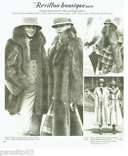 PUBLICITE ADVERTISING 036  1977  Revillon boutique fourrure manteau  marmotte