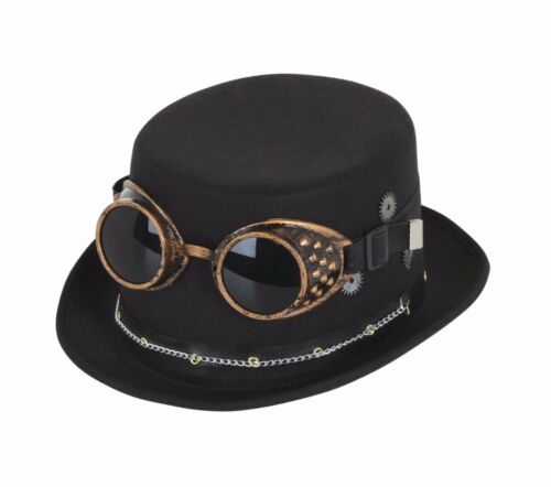 Black Steampunk Top Hat w// Goggles Gothic Goth Victorian Fancy Dress 1//2//3//4