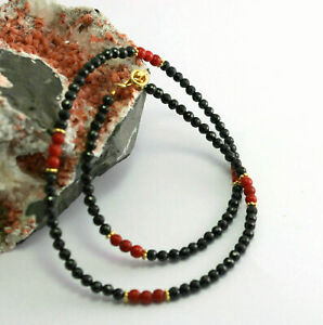 Spinel Chain with Coral 925 Silver Gemstone Necklace Black Red Designer Necklace
