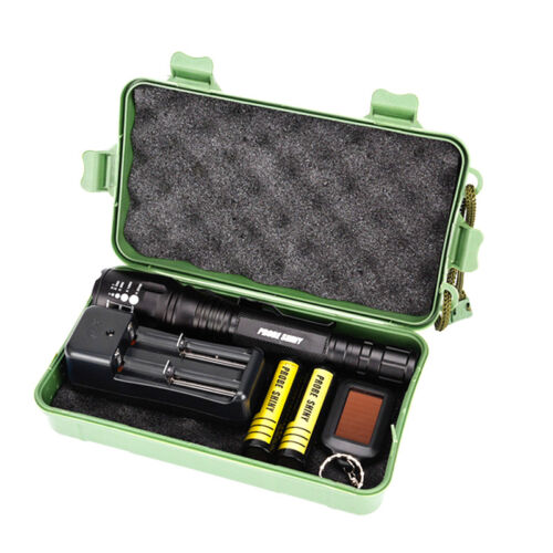8000LM Zoomable XML T6 LED Tactical Flashlight Light+18650 Battery+Charger+Case