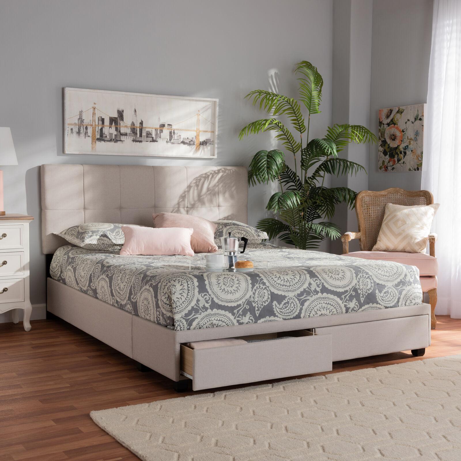 Netti Modern Beige Fabric Tufted Headboard 2 Drawer Storage Platform Bed Frame For Sale Online