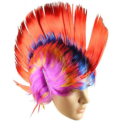 MOHAWK WIG LONG MOHICAN MULTI COLOURED FANCY DRESS 80S WIG PUNK ROCKER SPIKEY