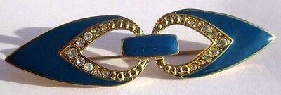 Adattabile Belle Broche Barrette Couleur Or émail Bleu Cristaux Diamant Bijou Vintage 3225