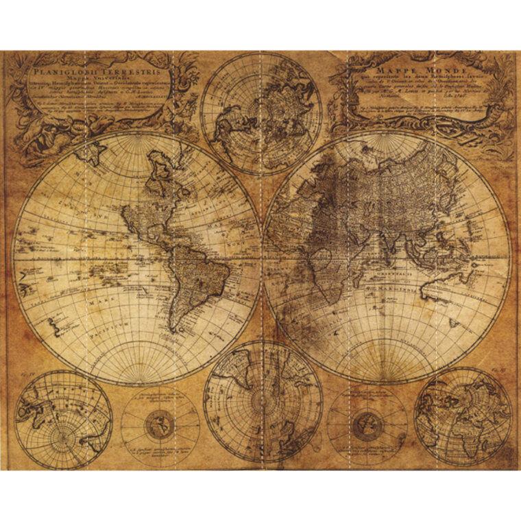G45255 - Global Fusion Braun Beige World Map Galerie Wallpaper Mural