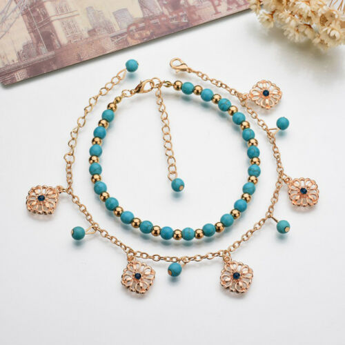 Infinity Stars Pearl Turquoise Tassel Pendant Double Layers Foot Anklet LH