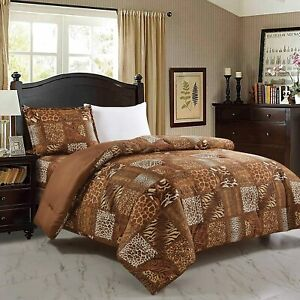 WPM 3 Piece Animal Print Comforter with Pillow Sham, Chocolate Brown Leopard Zeb