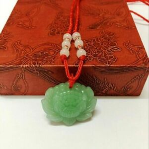 Natural-Green-Jade-Lotus-Pendant-Necklace-Fashion-Lucky-Charm-New