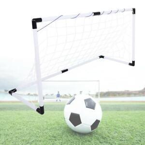 Weiss-Fussballtor-Set-Tore-Ball-Pumpe-Tor-Fussball-Netz-Torwand-Goal-fuer-Kinder