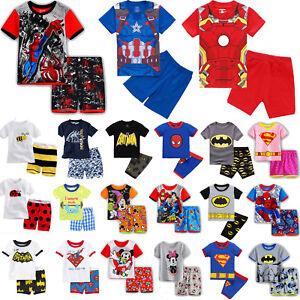 2Pcs-Kids-Boys-Girls-Cartoon-Sleepwear-Nightwear-Pj-039-s-Pyjamas-Summer-Outfits-Set