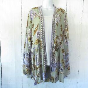 New-Angie-Kimono-3X-Sage-Green-Floral-Border-Boho-Peasant-Boho-Plus-Size