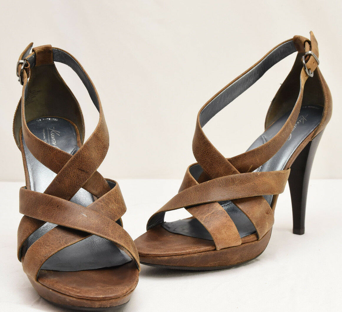 Womens Kenneth 9.5 Cole Brown Heels Size 9.5 Kenneth M 925 Leather Straps Weave Buckle 0a013a