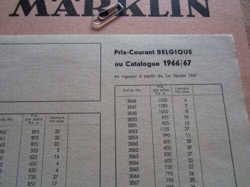 Märklin Preisliste Prix Courant Prijslijst 1966 1967 Belgien Belgique Händler