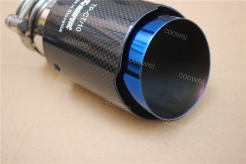 Akrapovic Blue End Exhaust Pipe Glossy Carbon Fiber Exhaust tip 63-89mm