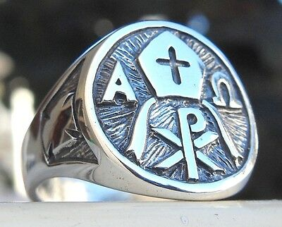 Solid Sterling Silver 925 Alpha and Omega CHI-RHO MONOGRAM OF CHRIST Ring