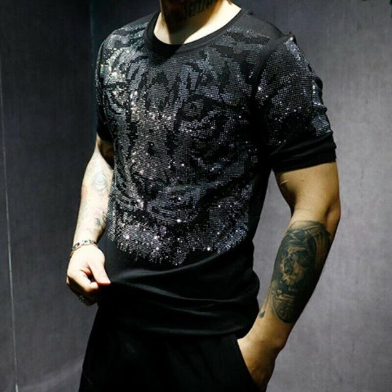 Men Blouses Cotton Blend Slim Fit Tiger Printing Short Sleeve Rhinestone T-shirt
