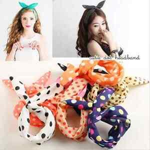 korean rabbit bunny ear headband wrap children bow