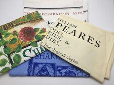 Four Vintage Linen Hand Towels Shakespeare Bodleian Library England Souvenirs