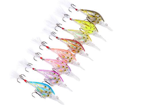 5PCS Sea Fishing Crankbait Crank Minnow Frashwater Group Fish Bass lure 7cm//6g
