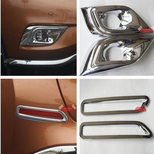4pcs Front Rear Fog Lamp Bezel Chrome Trim For Nissan Murano 2015 2016 2017