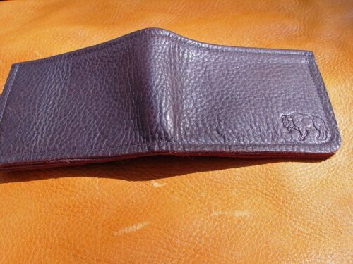 Brown BUFFALO LEATHER Bi Fold Wallet hand crafted disabled Navy veteran USN 5000
