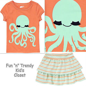 NWT Crazy 8 SURF ISLAND Girls Size 4 4T or 5 5T Skirt Skort Tee Shirt Top OUTFIT