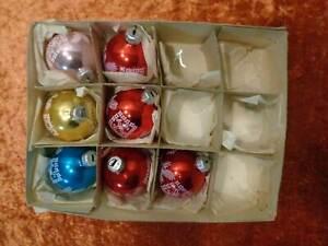 7X-DDR-Lauscha-Vidrio-Navidad-Adornos-de-Arbol-de-Navidad-Alrededor-De-1960-70