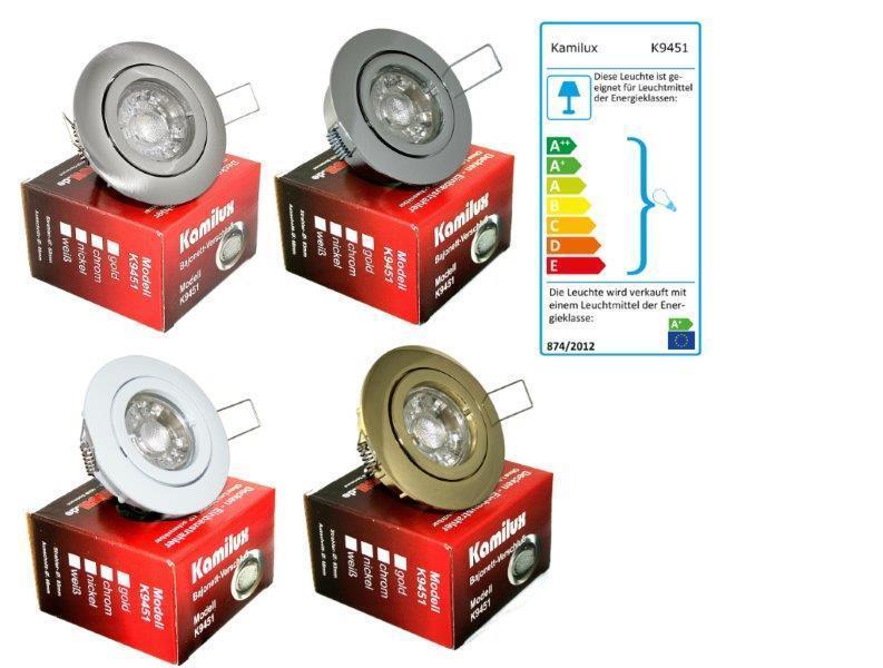 6er Set GU10 Einbauspots Downlights Bajo & LED-Strahler 7W, hell wie 70W Halogen