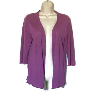 Eileen-Fisher-Womens-Size-Medium-Purple-Linen-Open-Front-Cardigan-Sweater