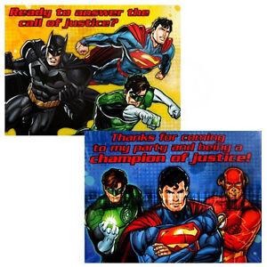 Image Is Loading DC Comics Justice League Super Heros INVITATIONS Birthday