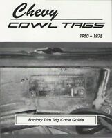 Chevy Cowl Tag Code Guide 2911