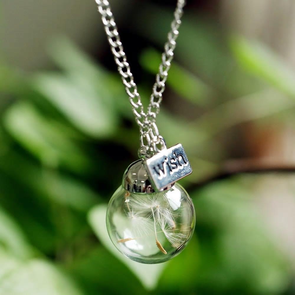 """Wildflower WISH Charm /""""Dandelion Wishes/"""" Glass Globe Necklace"""