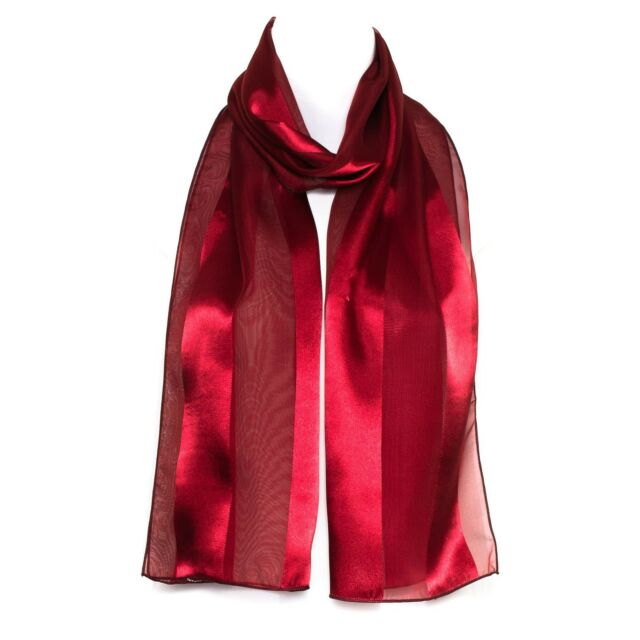 4f12db5e4997 Chiffon Satin Plain Striped Elegant Ladies Womens Scarf Shawl Wrap ...