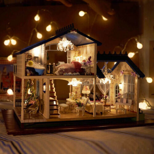 Miniature DIY Dollhouse Kit w// Furniture LED Light Craft Provence Villa Gift