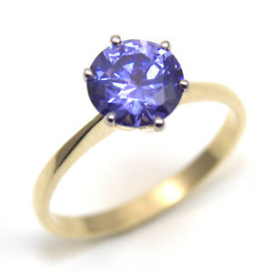 round yellow gold carat bridal tanzanite ring halo diamond and engagement
