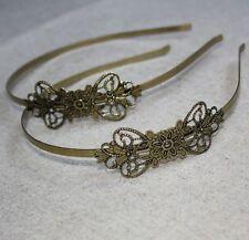 Antique Bronze Headband Hair Band  with large filigree - 4 pcs