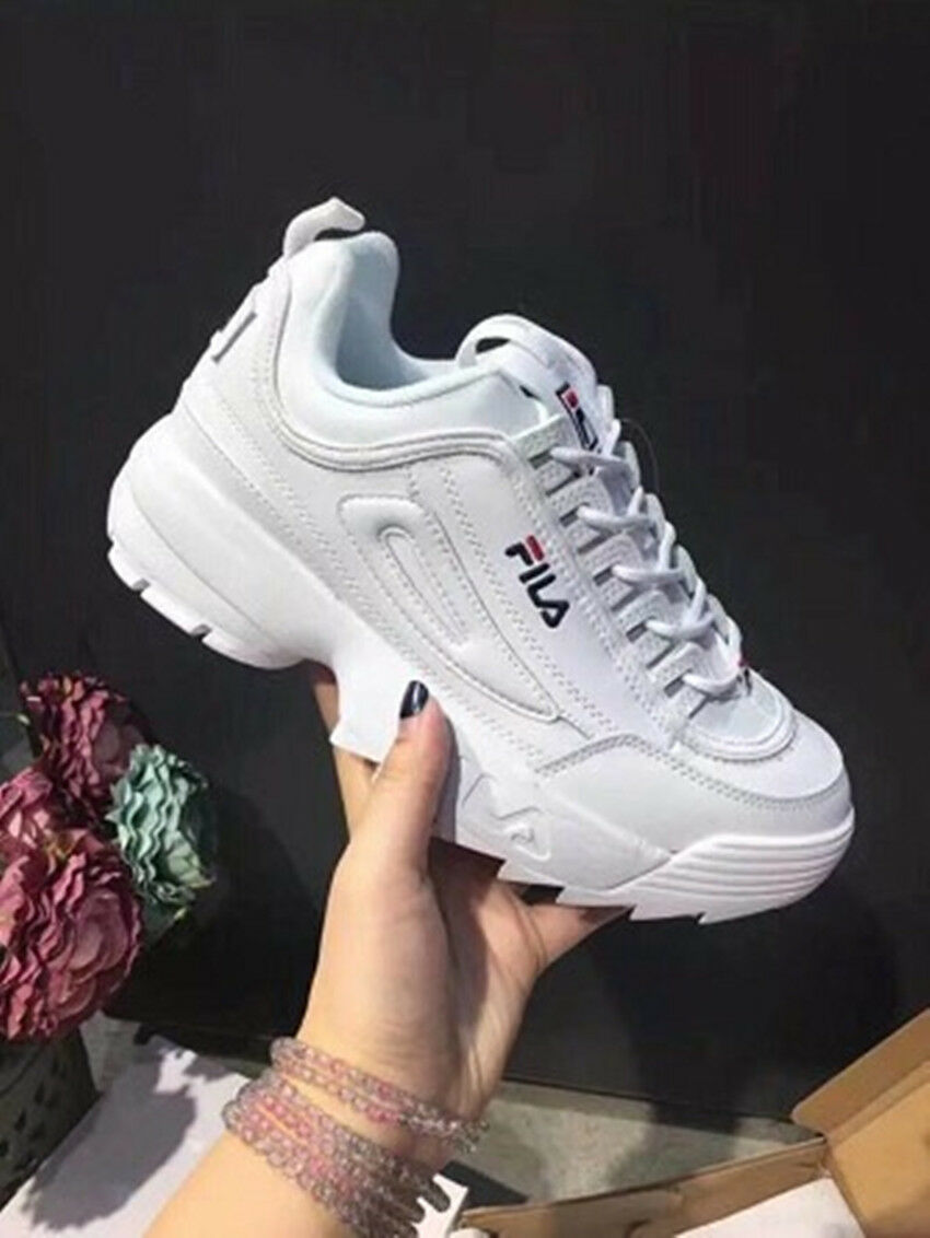 Détails sur KID FILA Chaussures Bas Cuir Faux Disruptor Noir Blanc Peint Sneaker Model 2019J