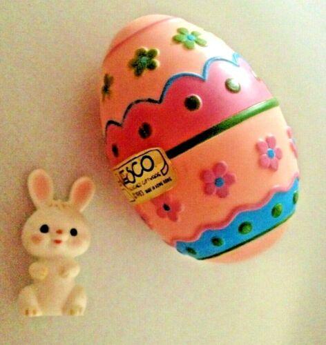 NEW Vintage Enesco 1983 Easter Surprise Egg Hard Plastic Bunny Rabbit inside