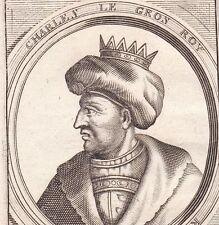 Portrait XVIIe Charles Le Gros Carolingien Empereur d'Occident Roi d'Italie