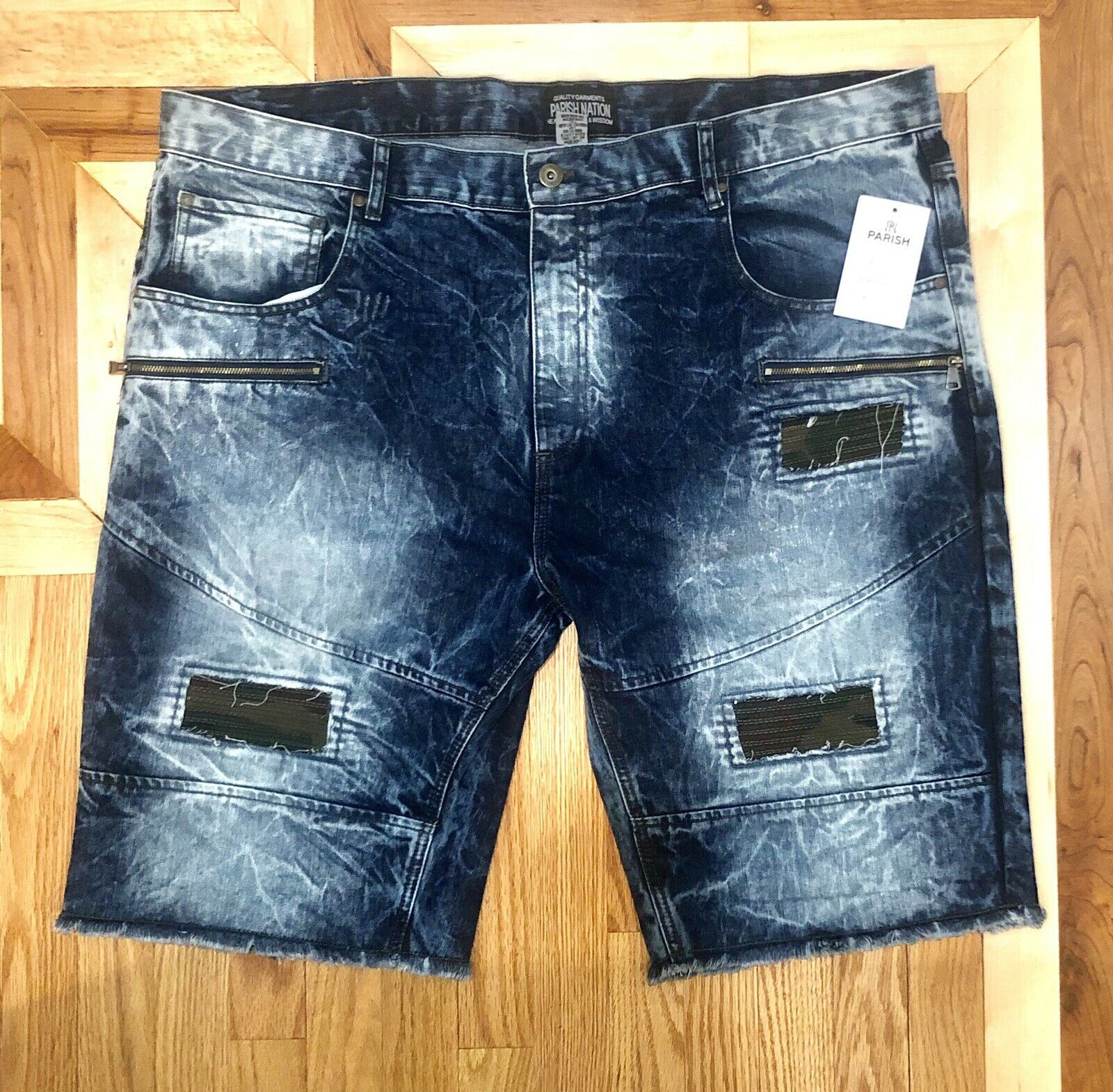 Parish Nation Denim Shorts Mens 46 Distressed Destroyed Bleached Indigo Wash NWT