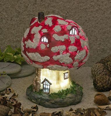 New Mushroom Toadstool Fairy House Solar Lights Up At Dusk Fairy Garden Ornament