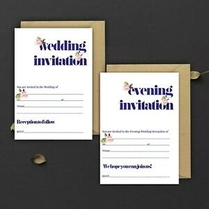 WEDDING-INVITATIONS-BLANK-NAVY-WATERCOLOUR-amp-PINK-FLORAL-DAY-amp-EVE-PACKS-OF-10