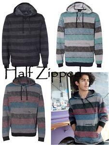 Burnside Mens Printed Striped Fleece Hooded Sweatshirt 8603 S-3XL Hoodie NEW