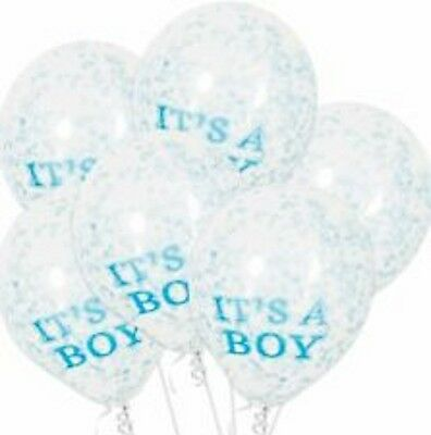 "12"" It's a Boy Confetti Balloons 6 ct Clear Latex Balloons Blue Paper Confetti"