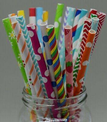 25 X Paper Straws Mix Birthday Wedding Chevron Drinking Dot UK *Biodegradable*