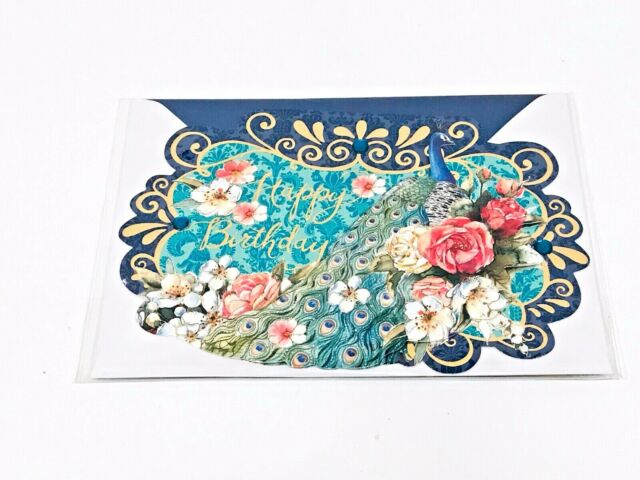 Punch Studio Peacock Blank Greeting Card+Seal+Env Gem Embellished Floral Blossom