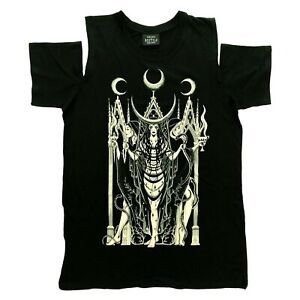 Restyle Gothic Occult Pagan Hecate Goddess Cold Shoulder Black T Shirt Size S