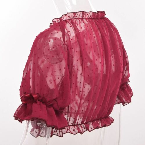 Lolita Girls Puff Sleeves Crop Top Shirt Bottoming Chiffon Lace Summer Cover-Up
