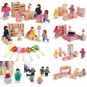 Wooden Furniture Set Doll House Family Christmas Xmas Toy Kid