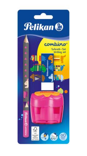 """pink Farbe Pelikan Set /""""Combino/"""" mit Schreiblernbleistift,Radierer,Anspitzer"""